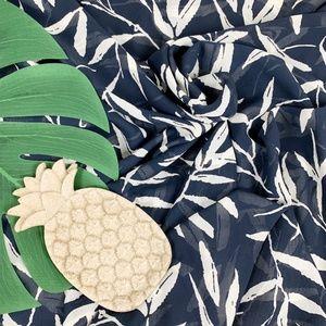 Nautica | Navy Bamboo Leaf Curtain EUC!